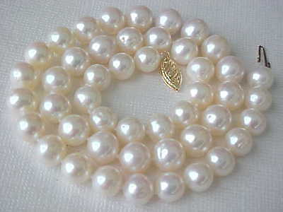 "16"" 8.5MM AAA WHITE FRESHWATER PEARL NECKLACE SOLID 14K YELLOW GOLD CLASP"