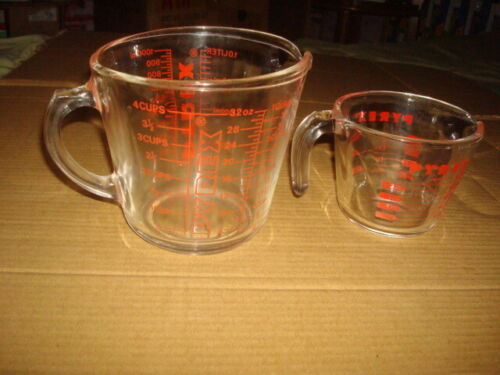 2 PIECE LOT Vintage PYREX 8 Cups Large Clear Glass and 1 cup Measuring Cup Bowl