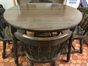 Wood Kitchen Table & 4 Chairs - Dark Brown, Perfect Condition