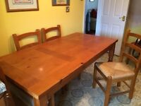 Pine Kitchen Table and 6 matching chairs