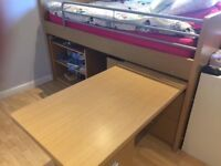 Cabin bed with pull out desk £80 ono