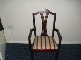 4 dining chairs and 2 carver dining chairs dark mahogany style