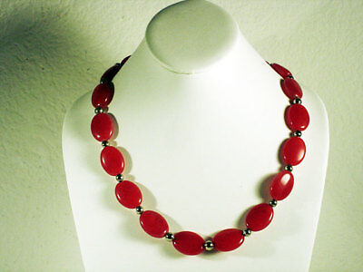 (Large  royal red oval stones with silver finish beads statement plus)