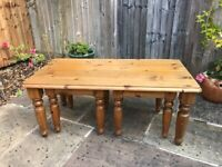 Pine coffee table and side tables