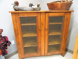 Antique Solid Pine Pie Safe/Kitchen Cupboard