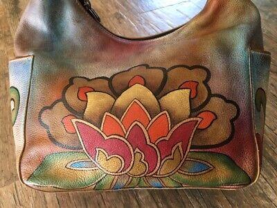 Anuschka Hand Painted Leather Lotus Flower Medium Size Shoulder Bag EUC