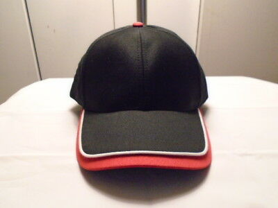 (ONE NEW BLACK CAP/HAT-RED EDGE+WHITE PIPING ON BILL-METAL EYELETS-MOHR[24008)