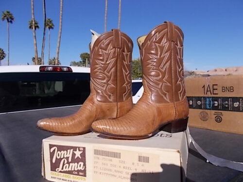 Vintage NOS Gold Label Tony Lama Tan Lizard Skin Western Cowboy Boots Size 8.5 A