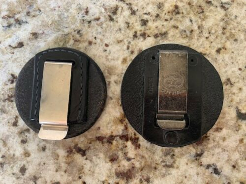 Lot of 2 Universal Round Clip on Badge Holder DutyMan Black Leather