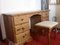 Dressing Table with 6 Drawers and Upholstered Stool