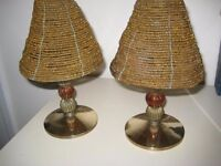 Pair Of Quality Brass And Glass Indian Table Lamps. OFFERS WELCOME.