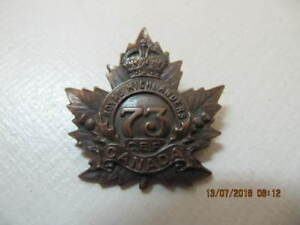WW1 Royal Highlanders 73rd Battalion C.E.F. Brass Badge Rare!