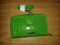 Green Wallet with strap attachment