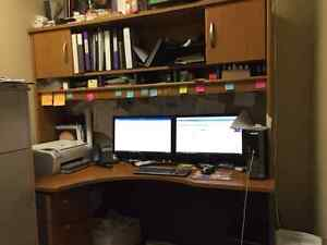 Desk with Upper Cabinet and Filing Cabinet