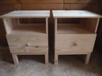 Pair of Natural Pine Bedside Cabinets AS NEW