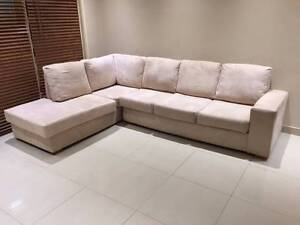 Cream L Shape Lounge _ Can Deliver Ryde Ryde Area Preview