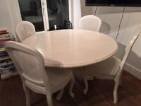 Stylish Shabby Chic Round Dining Table + 4 chairs