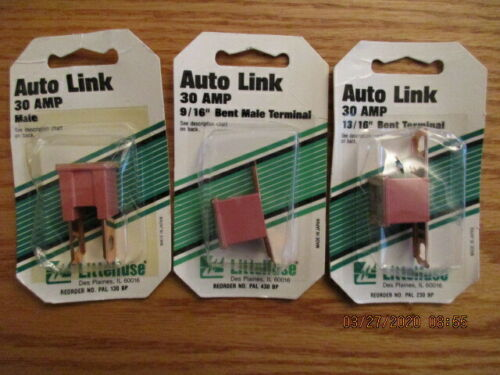 "VINTAGE LOT OF THREE LITTELFUSE AUTO LINK 30 AMP FUSES, Male, 9/16"" 13/16"" Bent"