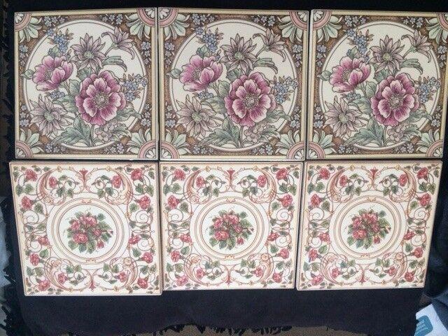 Ceramic Tiles (x6) Colourful Decorative Flowers