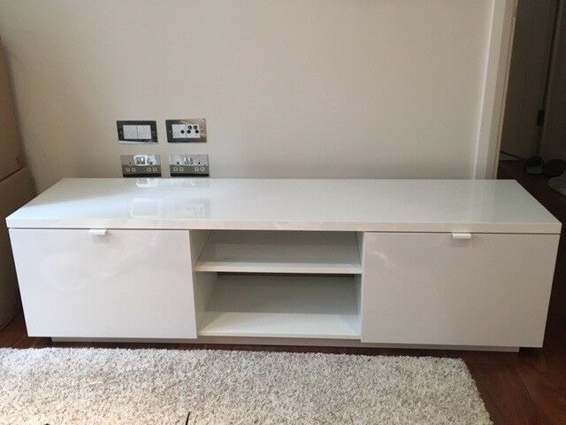 Ikea Byas Tv Bench 160x42x45 High Gloss White In