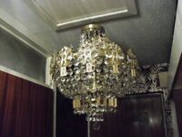 exact matching pair of vintage ceiling lights brass and glass , crown and basket type