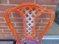 PAIR OF ORIGINAL CAST IRON ART NOUVEAU / DECO GARDEN CHAIRS STRONG AND STUDY MADE IN ENGLAND