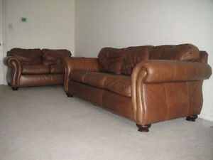 Classic 100% Brown Leather Sofa And Loveseat, Can deliver