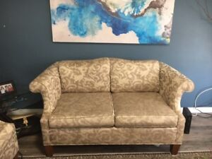 Two EUC Gold Loveseats - comfie but good scale for smaller apt