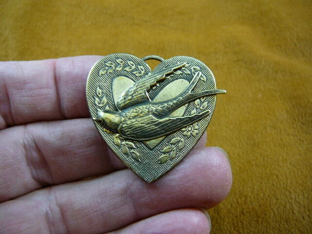 (b-bird-1251) Swallow bird nautical sea I love watching birds heart pin pendant