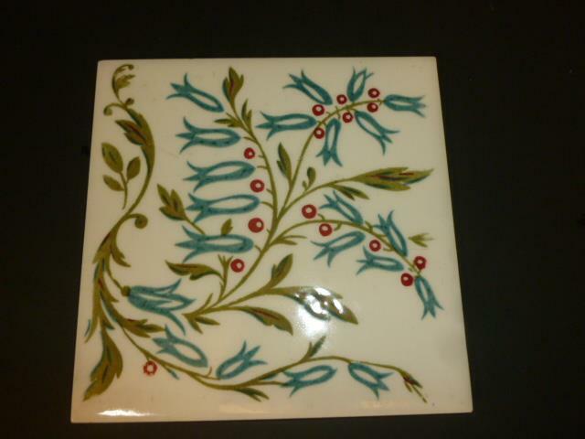 Vintage Mid Century Blue Bell Flowers & Berries Ceramic Tile Trivet