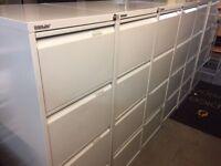 Grey 4 drawer Bisley filing cabinet with key