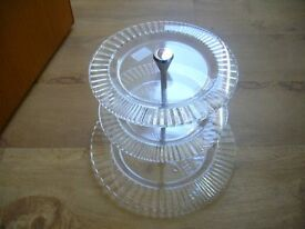 THREE TEIR CAKESTAND, GLASS AND CHROME FITTINGS, HOUSE OF FRASER, RRP £30, NEW