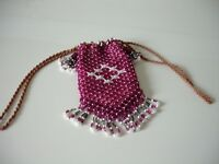Very pretty Vintage Raspberry Pink & White BEADED BELT BAG