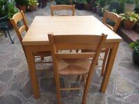 Ikea Bjursta Extending Oak Dining Table & 4 Chairs