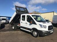 FORD TRANSIT 350 L3 7 SEAT DOUBLE/CAB 1 STOP TIPPER, 34,000 MILES, 16/66