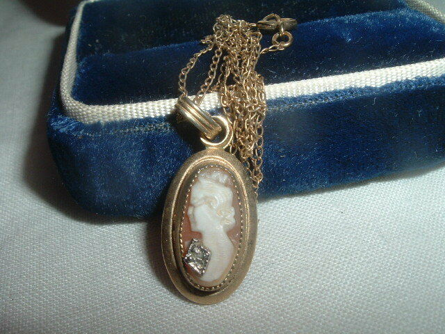 Vintage 12K Yellow Gold Filled Carved Shell Cameo w Diamond Pendant Necklace