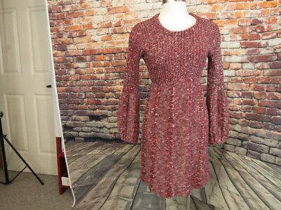 VTG Beeline Fashions Juniors L Knit Sweater Dress Red Black White 1970's