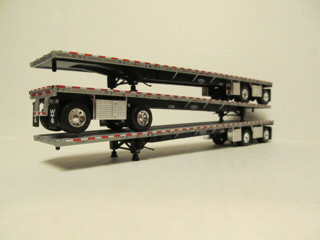 3  DCP 1/64 SCALE WILSON ROAD  BRUTE FLATBED  TRAILERS  SILVER DECK, BLACK FRAME
