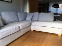 Corner Sofa pale grey in fair/good condition 2 years old would seat 6 people easily