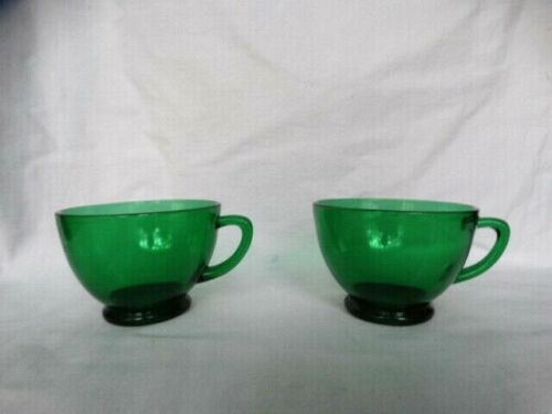 Set of 2 Anchor Hocking Forest Green 2 3/8th inch Punch Cups Excellent Used Cond