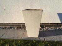 3 x White Tall Tapered Square Poly Terrazzo Planters in N Devon EX33 1FJ reduced to £20 each
