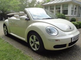 VW Volkswagen Beetle 2.0 Cream Convertible Cabriolet, Full Cream Leather, HUGE Spec!