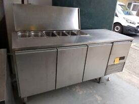 THREE DOOR STAINLESS STEEL BENCH FRIDGE WITH SALADETTE ON TOP AST123