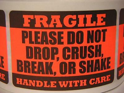 Fragile Do Not Drop Crush Break Or Shake Red Fluor 2x3 Sticker Label 250rl
