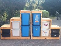 Two Ikea Children's Storage Shelving Units, Pine with Six Blue Plastic Drawers