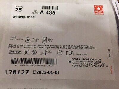 Case Of 25 Codan 43.7810 A435 Univ Iv Set W 15 Micron Filter Exp 010123