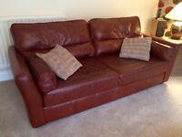 2 Maroon Double Leather Sofas