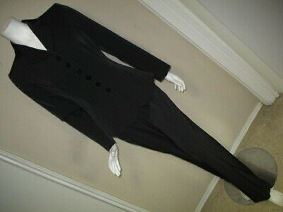 GIORGIO ARMANI COLLEZIONI Black Pinstripe Polyes/Polyureth/Viscos PANT SUIT 8 44