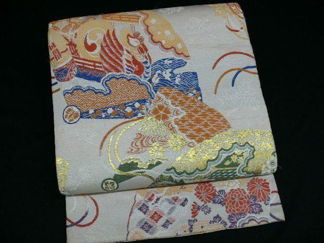 Antique Cream & Gold Silk Japanese MARU OBI w/KIKU, Phoenix H780