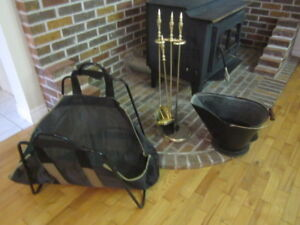 fireplace tools, Log carrier, and ash hodd